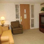 A typical living room in a guest suite at the Embassy Suites