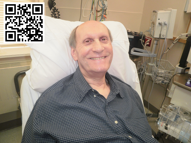 Dave Murray smiling while in the hospital's pre-op unit.