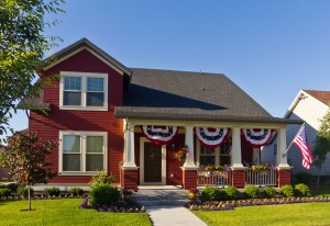 Photo of a patriotically decorated house in Daybreak, Utah.