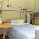 A bed in a hospital